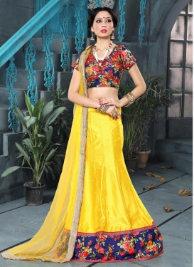 Digital Print Work Navy Blue and Yellow Art Silk A - Line Lehenga