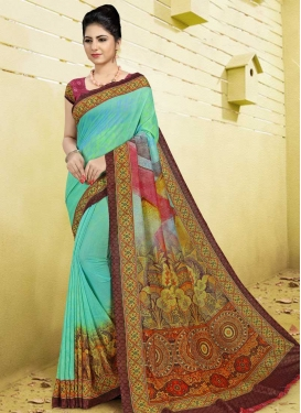 Digital Print Work Olive and Turquoise Trendy Classic Saree