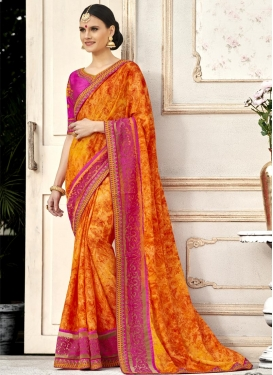 Digital Print Work Orange and Rose Pink Classic Saree