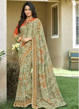 Digital Print Work Orange and Sea Green Designer Traditional Saree