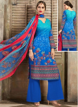 Digital Print Work Palazzo Straight Salwar Kameez For Ceremonial