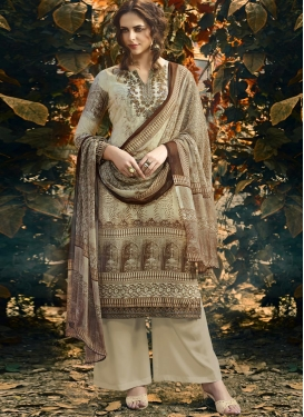 Digital Print Work Palazzo Straight Suit For Ceremonial