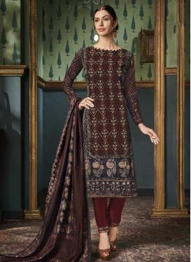 Digital Print Work Pant Style Straight Salwar Suit