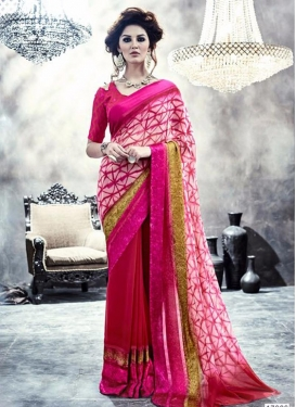 Digital Print Work Pink and Red Contemporary Style Saree