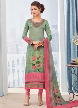 Digital Print Work Pink and Sea Green Pakistani Straight Suit