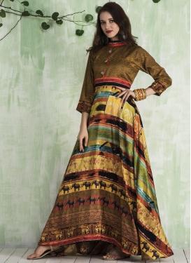 Digital Print Work Readymade Designer Gown
