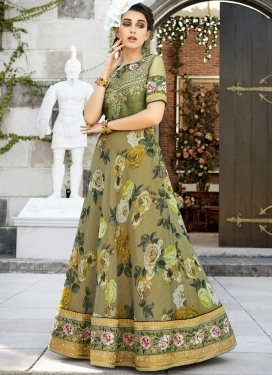 Digital Print Work Readymade Designer Gown