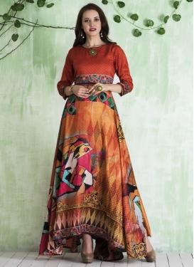 Digital Print Work Readymade Floor Length Gown