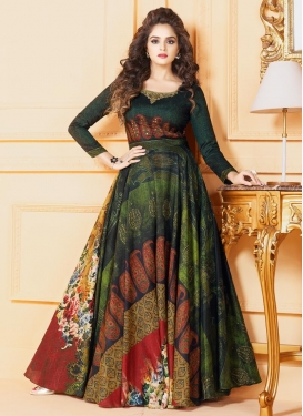 Digital Print Work Readymade Long Length Gown