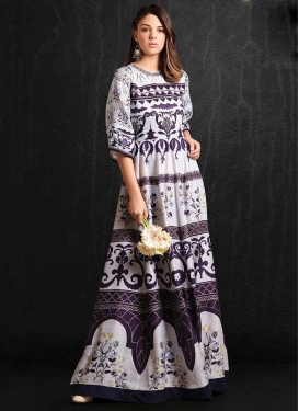 Digital Print Work Readymade Trendy Gown