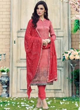 Digital Print Work Red and Salmon Trendy Churidar Salwar Kameez