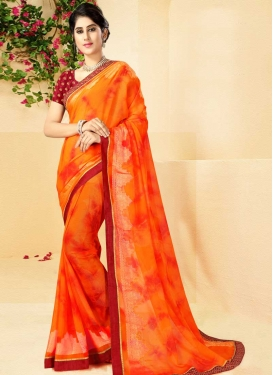 Digital Print Work Satin Georgette Designer Contemporary Saree