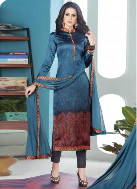 Digital Print Work Satin Silk Pant Style Salwar Kameez