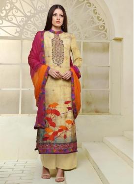 Digital Print Work Silk Palazzo Style Pakistani Salwar Suit