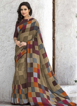 Digital Print Work Traditional Designer Saree For Casual