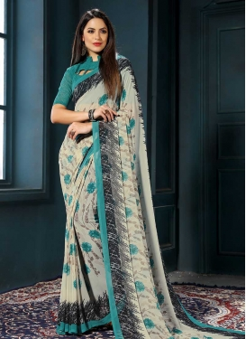 Digital Print Work Traditional Saree For Casual