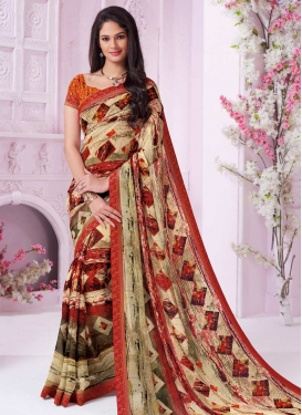 Digital Print Work Traditional Saree For Ceremonial