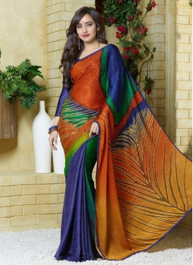 Digital Print Work Traditional Saree For Festival