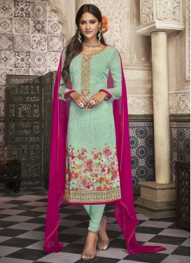 Digital Print Work Trendy Churidar Suit
