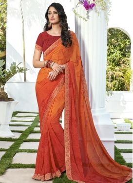 Digital Print Work Trendy Classic Saree
