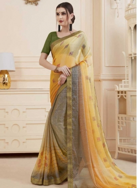 Digital Print Work Trendy Classic Saree For Ceremonial