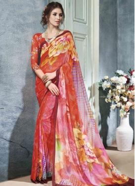 Digital Print Work Trendy Classic Saree For Festival