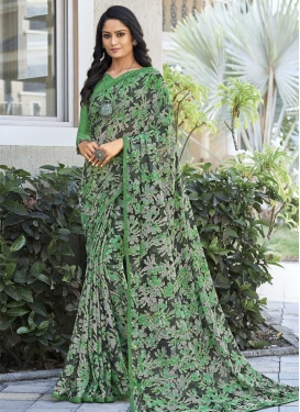 Digital Print Work Trendy Saree