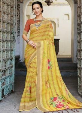 Digital Print Work Trendy Saree