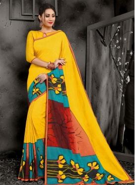 Digital Print Work Trendy Saree For Casual