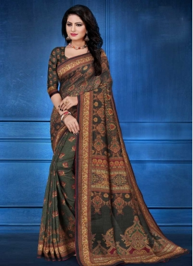 Digital Print Work Tussar Silk Classic Saree For Ceremonial