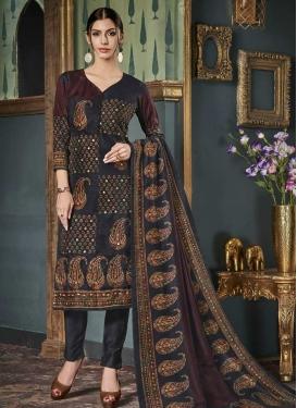 Digital Print Work Tussar Silk Pant Style Classic Suit