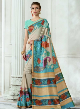 Digital Print Work Tussar Silk Trendy Classic Saree For Festival