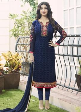 Dignified Ayesha Takia Faux Georgette Straight Pakistani Salwar Kameez