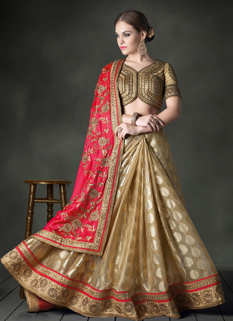 Dignified Banarasi  Silk Half  N Half Designer Saree
