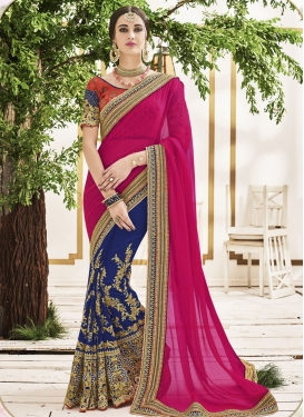 Dignified  Beads Work Faux Chiffon Fuchsia and Navy Blue Half N Half Saree For Ceremonial