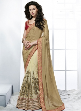 Dignified Beige Color Half N Half Wedding Saree