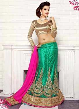 Dignified Booti Work Green Color Designer Lehenga Choli