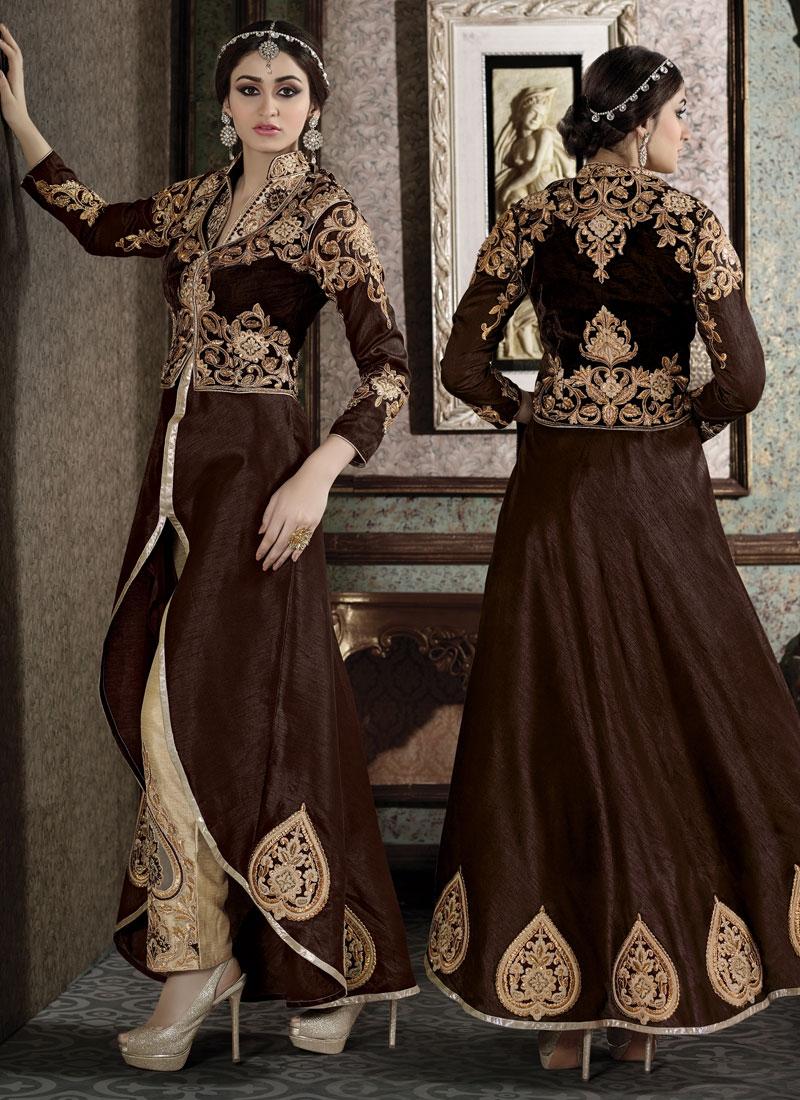 Dignified Booti Work Jacket Style Designer Salwar Kameez