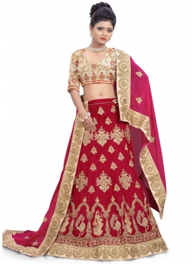 Dignified Crimson and Fuchsia Silk Designer A Line Lehenga Choli