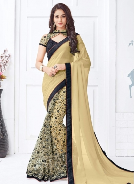 Dignified Embroidered Work Faux Georgette Half N Half Designer Saree