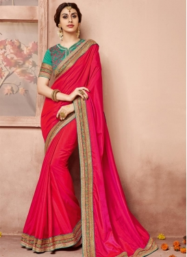 Dignified  Embroidered Work Raw Silk Designer Contemporary Saree