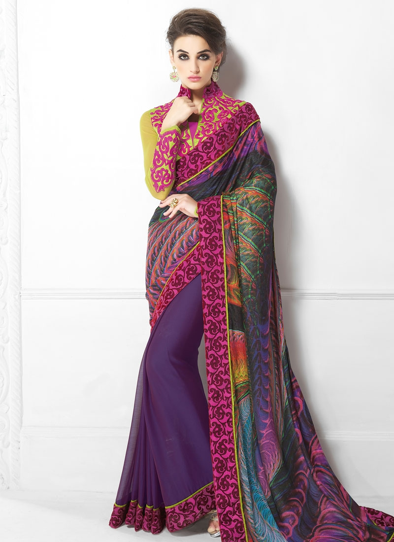 Dignified Faux Chiffon Half N Half Party Wear Saree
