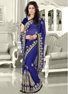 Dignified Faux Chiffon Stone Work Wedding Saree