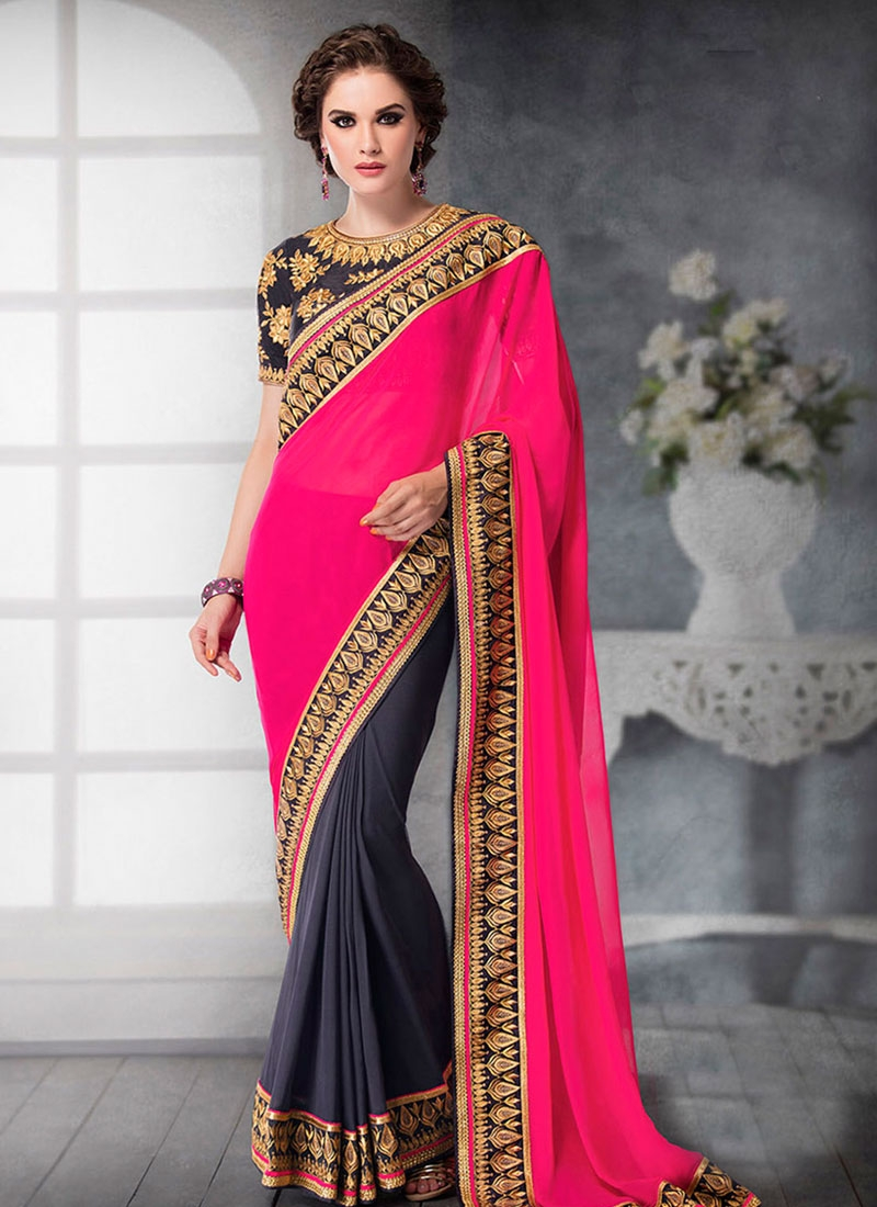 Dignified Faux Georgette Half N Half Party Wear Saree