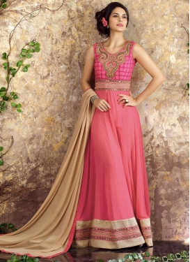 Dignified Faux Georgette Lace Work Long Length Salwar Suit