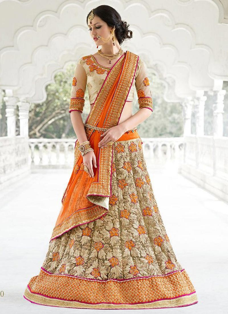 Dignified Floral And Patch Border Work Bridal Lehenga Choli