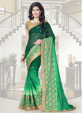 Dignified  Green and Mint Green Contemporary Style Saree