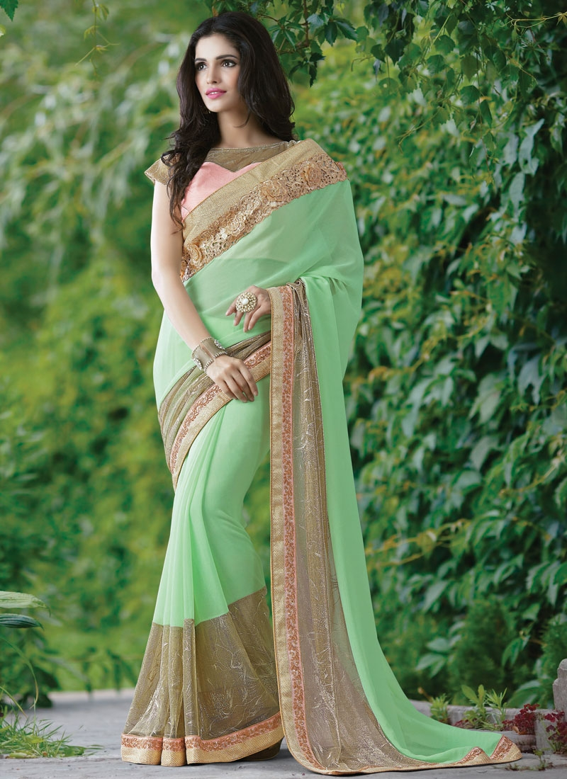 Dignified Mint Green Color Lycra Designer Saree