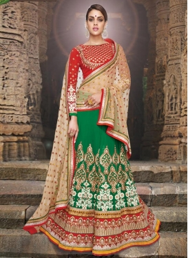 Dignified Patch Border And Sequins Work Bridal Lehenga Choli