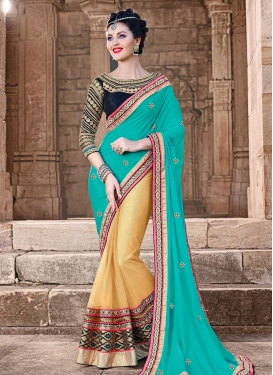 Dignified Patch Border Work Half N Half Wedding Saree